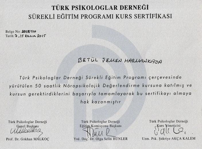 Türk-Psikologlar-Derneği-Nöropsikolojik-Değerlendirme-Sertifikası