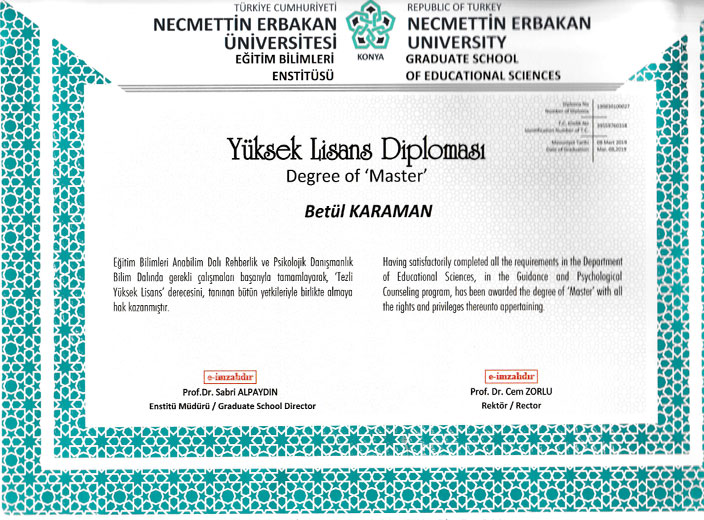 Uzman-Psikolog-Betül-Karaman-Yüksek-Lisans-Diploması