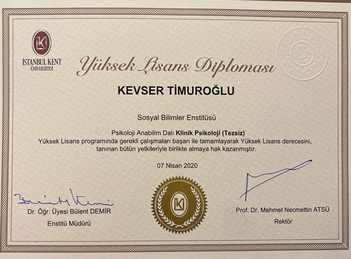 kevser-timuroğlu-klinik-psikoloji-yüksek-lisans-diploması