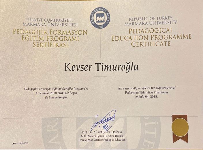 kevser-timuroğlu-pedagoj-formasyon-sertifikası